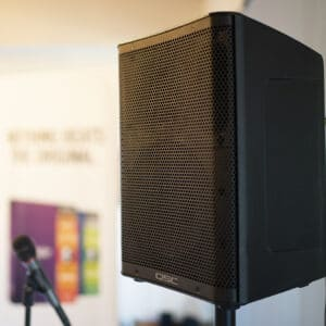 QSC CP8 speaker with microphone for live gig