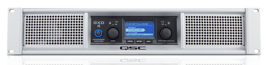 QSC GXD4 amplifier, can be used with QSC E Series passive loudspeakers