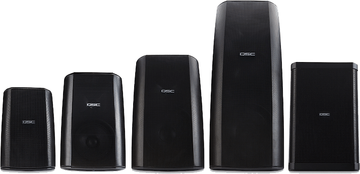 QSC AcousticDesign Series Loudspeakers of different sizes