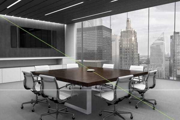 corporate meeting space with a Shure mic on the table